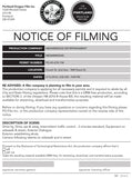 Notice of Filming