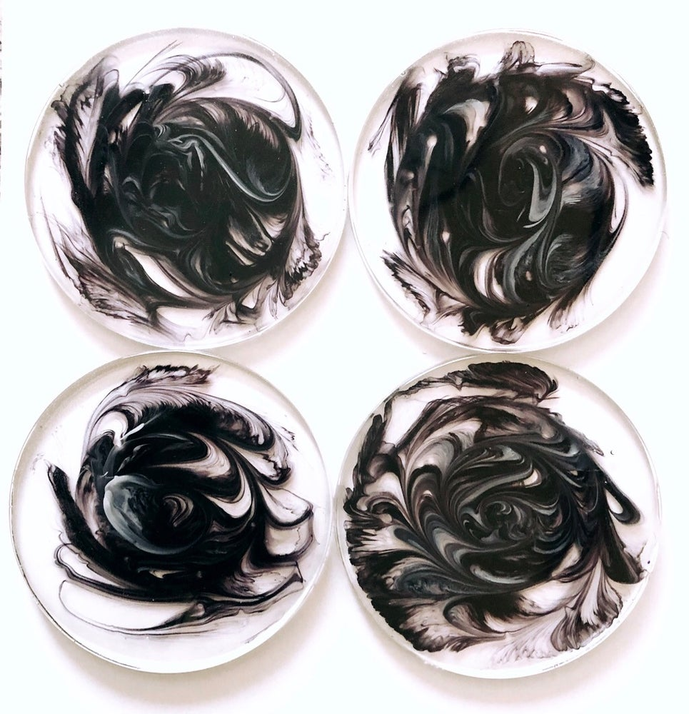 Black & White Swirl Resin Coasters