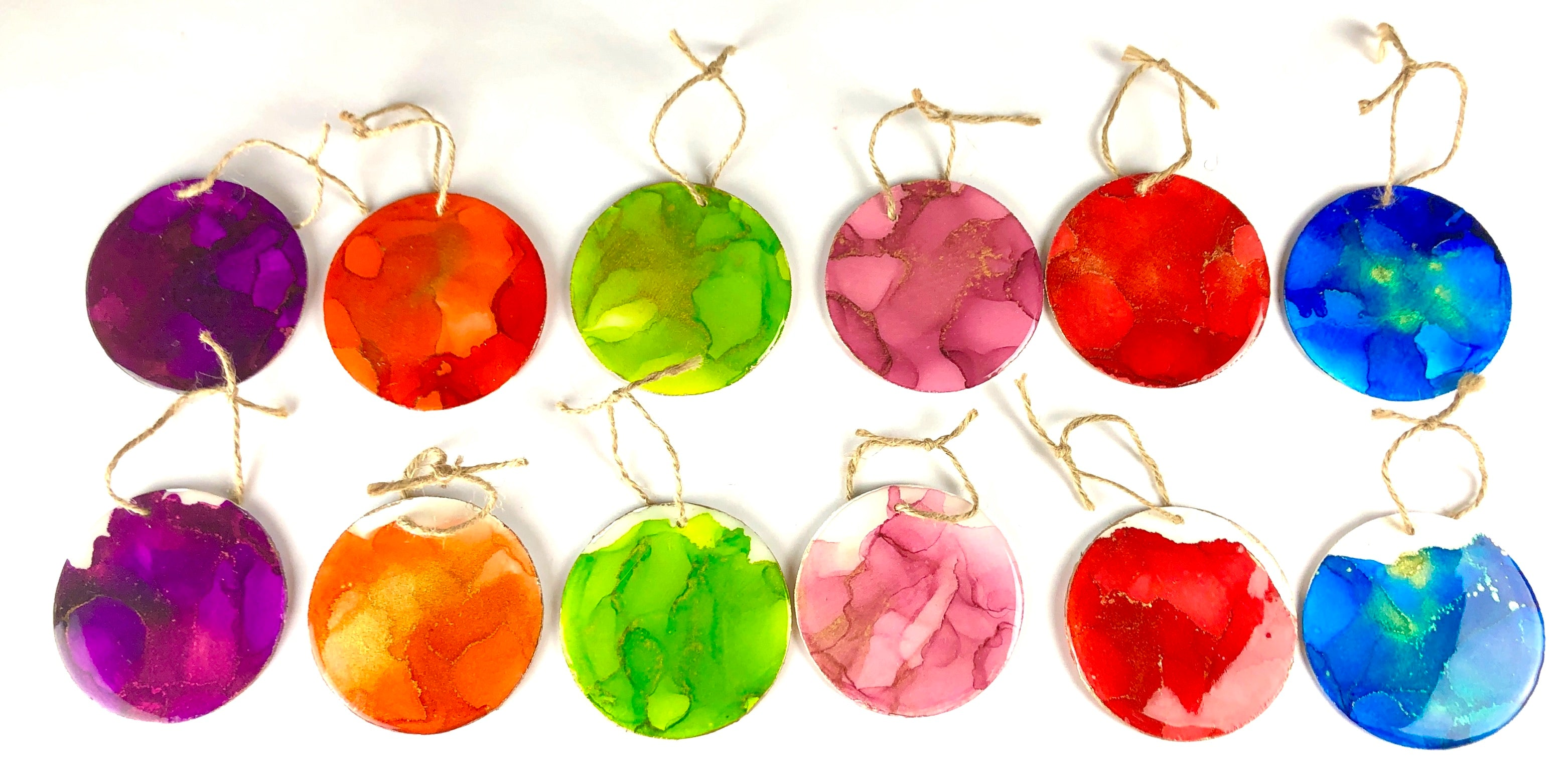 Fire Art Abstract Wooden Ornaments - Set of 12