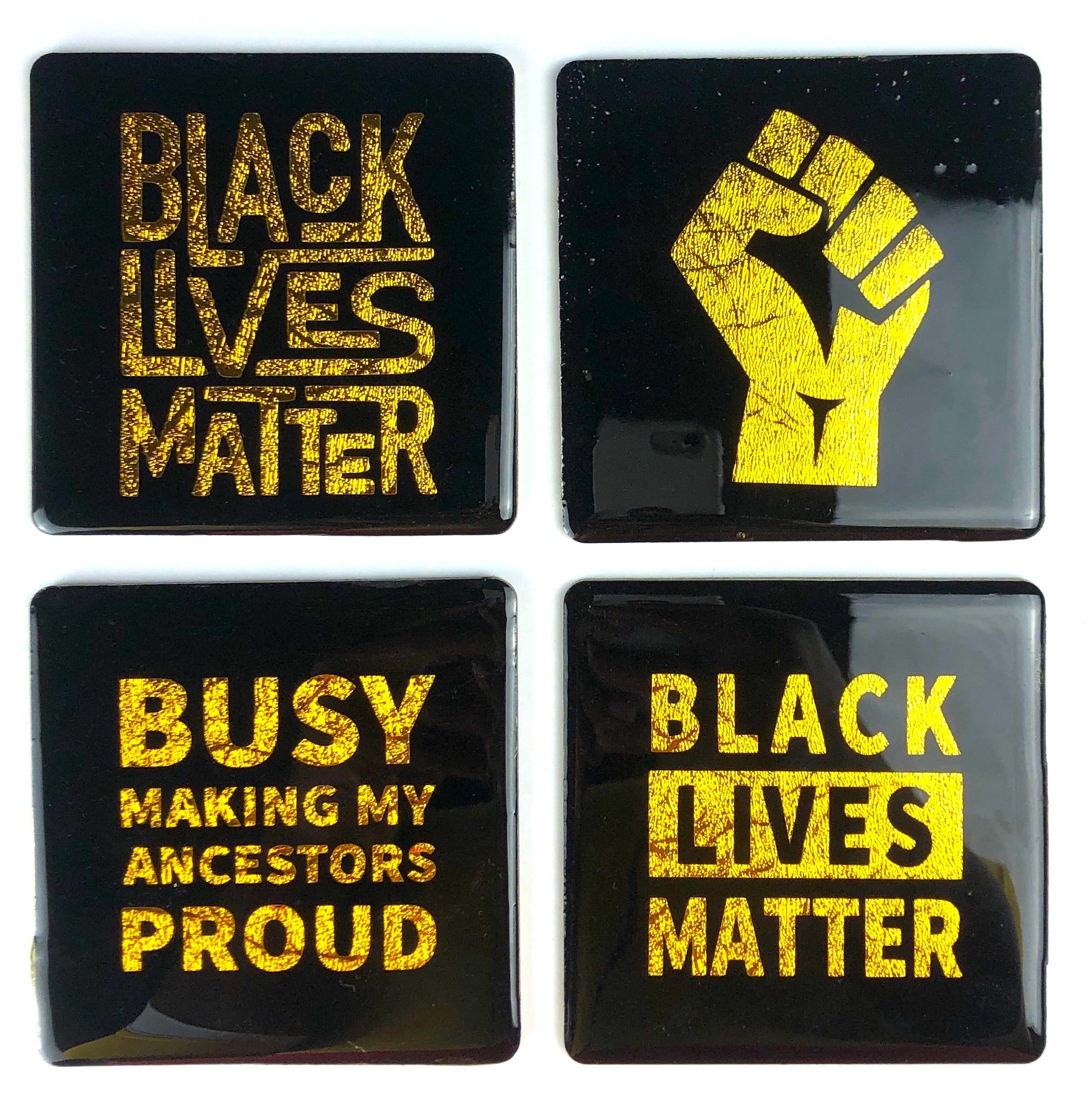 Black Lives Matter Wooden Costers - Set of 4