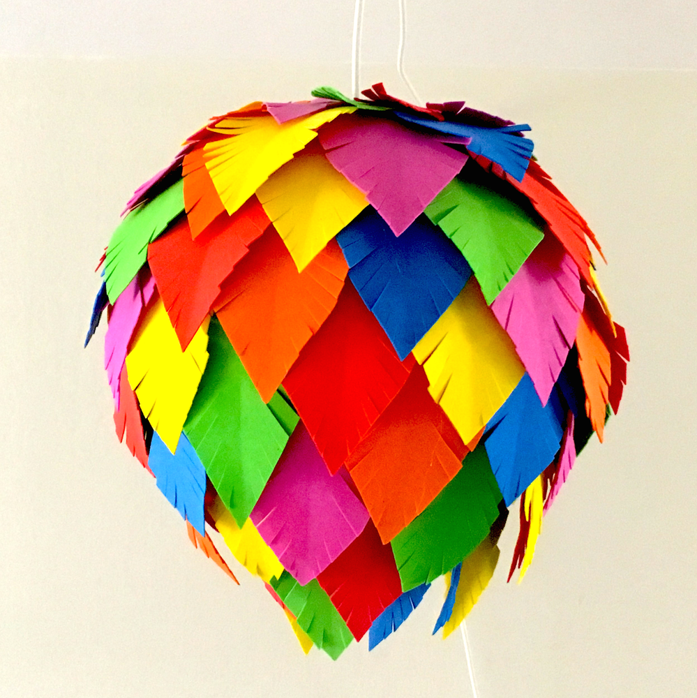 Multi-colored Feather Lampshade