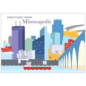 Greetings From Minneapolis Skyline Postcard