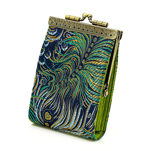 Cathayana Card Holder – Navy and Gold Peacock