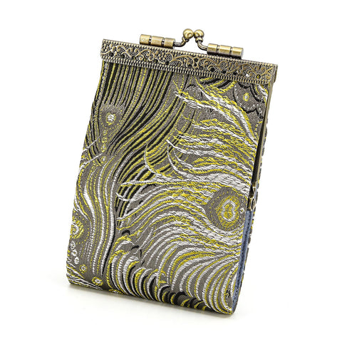 Cathayana Card Holder – Grey and Gold Peacock