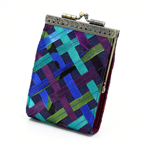 Cathayana Card Holder – Blue and Purple Woven Ribbon