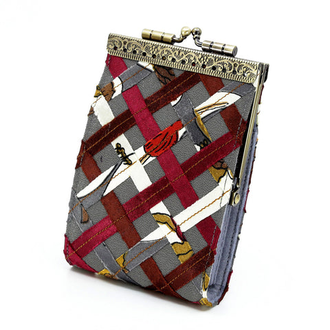 Cathayana Card Holder – Grey and Burgundy Woven Ribbon