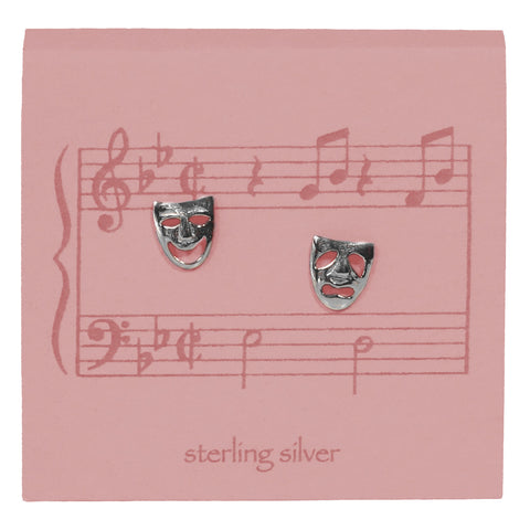 Comedy Tragedy Mask Earrings – Silver