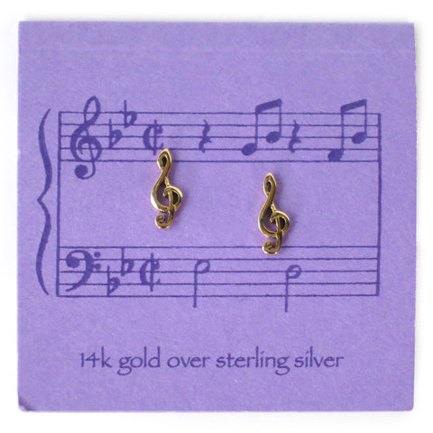 Treble Clef Earrings – Gold