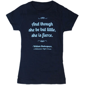"Shakespeare ""And though she be but little, she is fierce"" Short Sleeve Fitted T-Shirt - Youth"