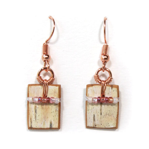 Bark and Bead Earrings – Clear and Copper