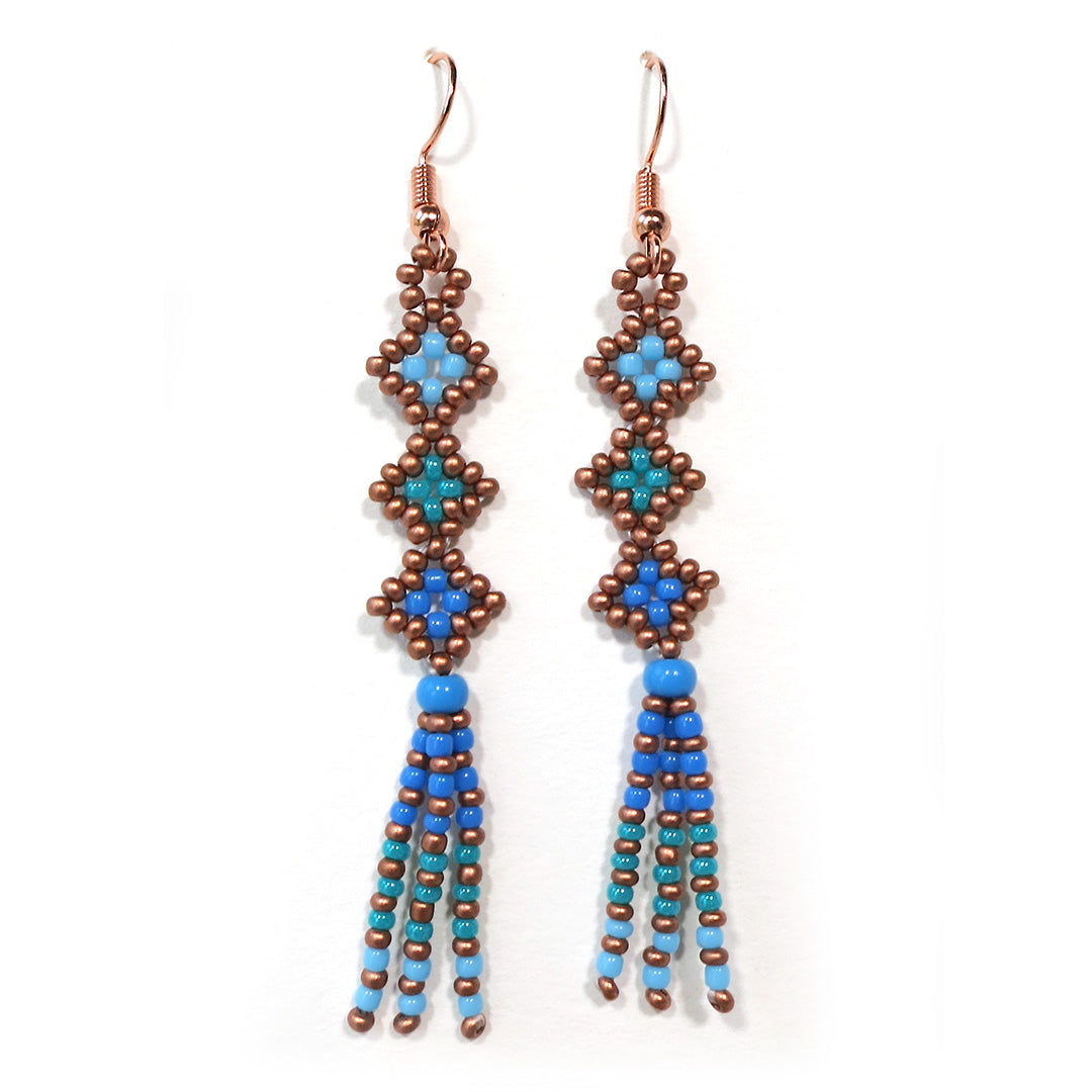 Beaded Dangle Earrings – Blue and Copper