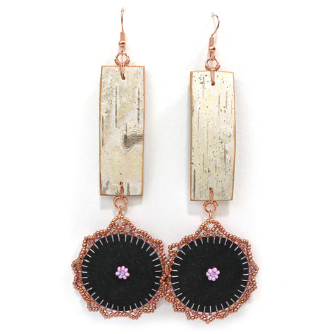 Bark and Flower Dangle Earrings