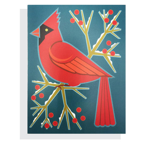 Cardinal and Berries Card