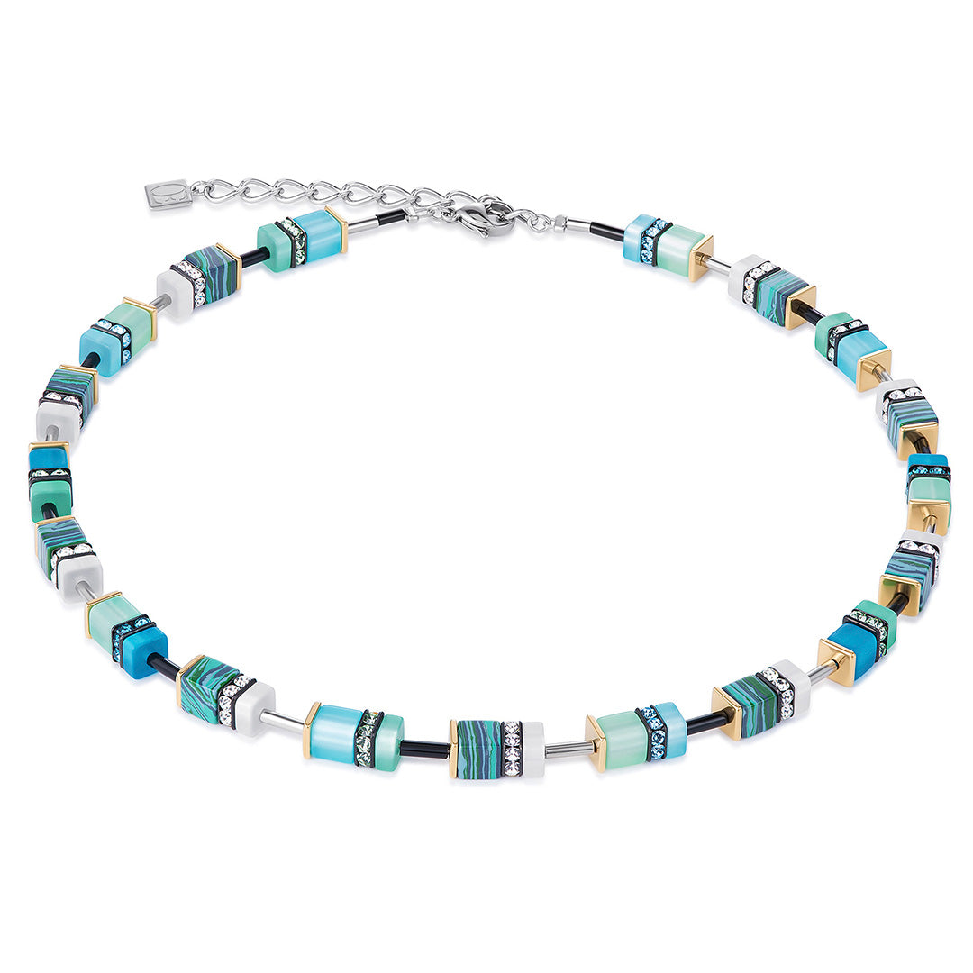 Coeur de Lion GeoCUBE Necklace – Light Blue and Green