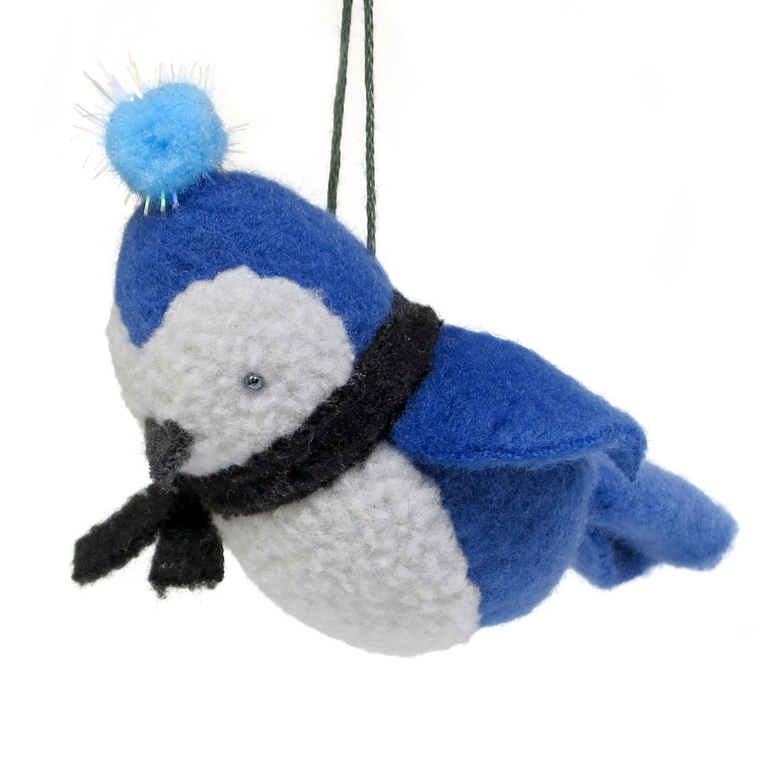 Plush Blue Jay Ornament