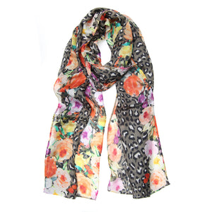 Leopard and Floral Camel Scarf