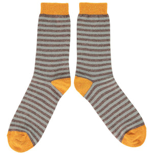 Sage Green Stripe Lambswool Ankle Socks