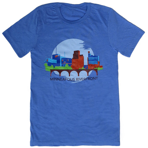 Minneapolis Riverfront Short Sleeve T-Shirt Blue - Adult