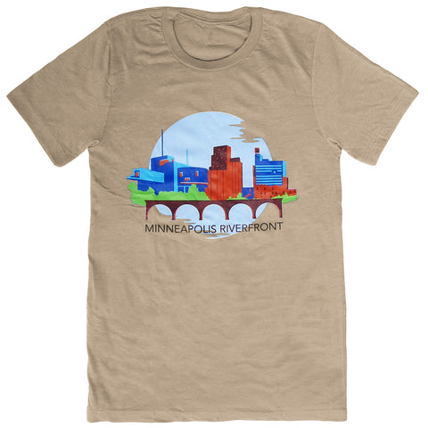 Minneapolis Riverfront Short Sleeve T-Shirt Tan - Adult