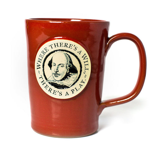 "Shakespeare ""Where There's a Will, There's a Play"" Mug – Red"