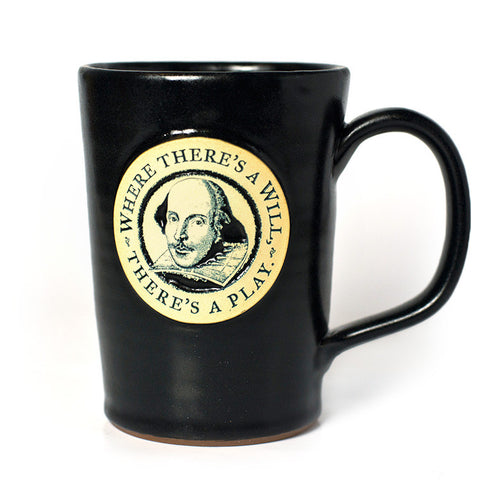 "Shakespeare ""Where There's a Will, There's a Play"" Mug – Black"