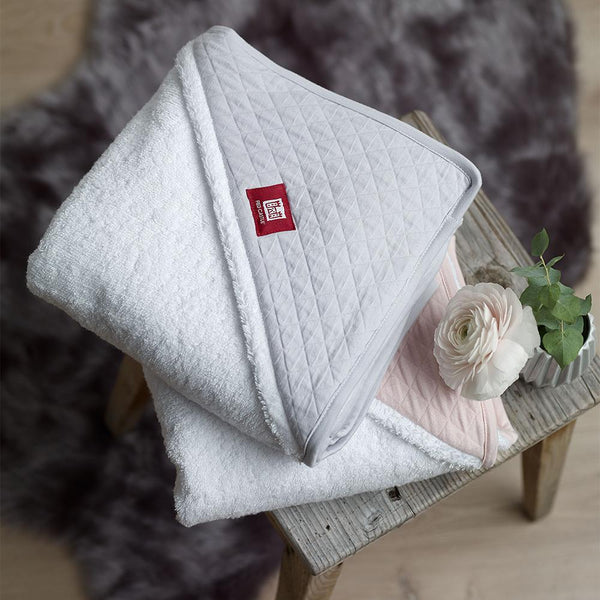 Hooded Towel - White & Chalk Pink (3)