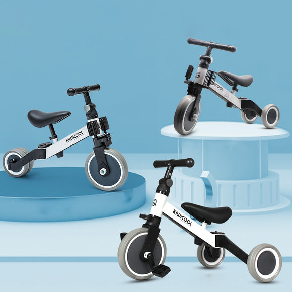 KIWICOOL 3in1 No Pedal Balance Bike & Kids Beginner Rider Training Walker Bicycle & Baby Tricycle Bike Scooter For 1.5/2/3/4/5 Year Old Children
