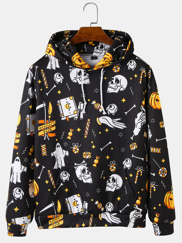 Mens Cartoon Halloween Element Print Drawstring Hoodies With Kangaroo Pocket