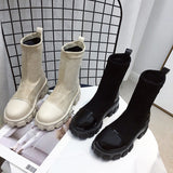 Women Boots Black Sock Boots 2020 New Punk Gothic Women's Ankle Shoes Platform Shoes Women White Sock Boots Cool Ladies