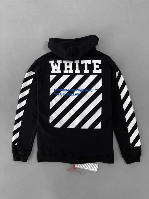 Off White Blue Collar Black Hoodie Sweatshirt SS18 Collection