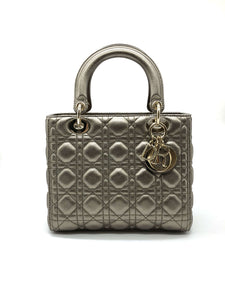Lady Dior Black Gold Calfskin Bag