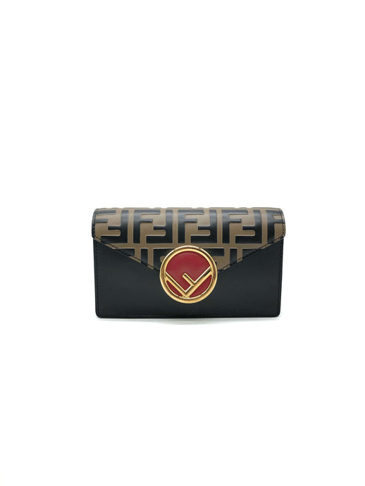 Fendi Logo Print and Clasp Leather Belt Bag