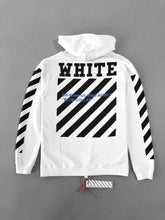 Load image into Gallery viewer, Off White Blue Collar White Hoodie Sweatshirt SS18 Collection