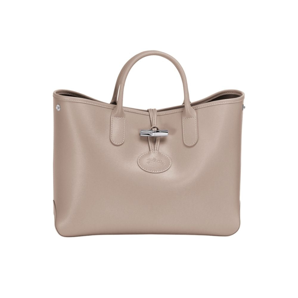 Longchamp Ladies Roseau Leather Tote Bag - Clay