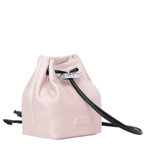 Longchamp Mini Roseau Lambskin Leather Bucket Bag In Powder