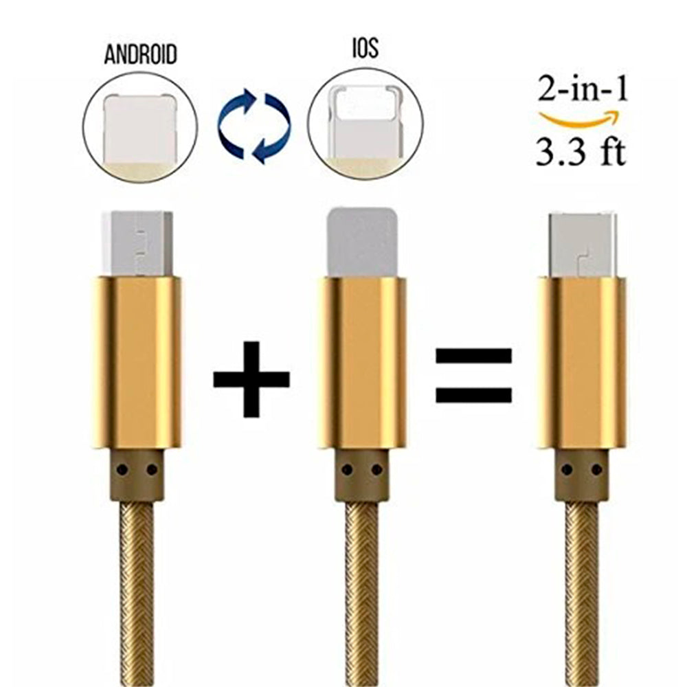 Cable 1mt 2 en 1 Micro USB(V8) and Lightning (IPH) LDNIO Lc88