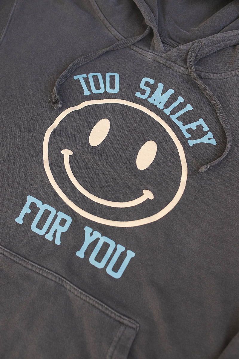 Too Smiley For You Vintage Black Hoodie