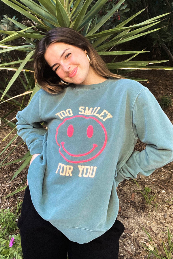 Too Smiley For You Green Crewneck