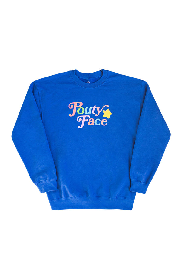 Youth Pouty Face Blue Crewneck