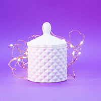 Mini Matt White Geo Cut Candle Jar