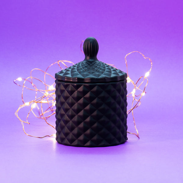 Mini Matt Black Geo Cut Candle Jar