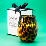 These fabulous Leopard print glass candle jars come gift boxed and bowed.  For the cooler months Vintage Leather and Sandalwood is a perfect fragrance.