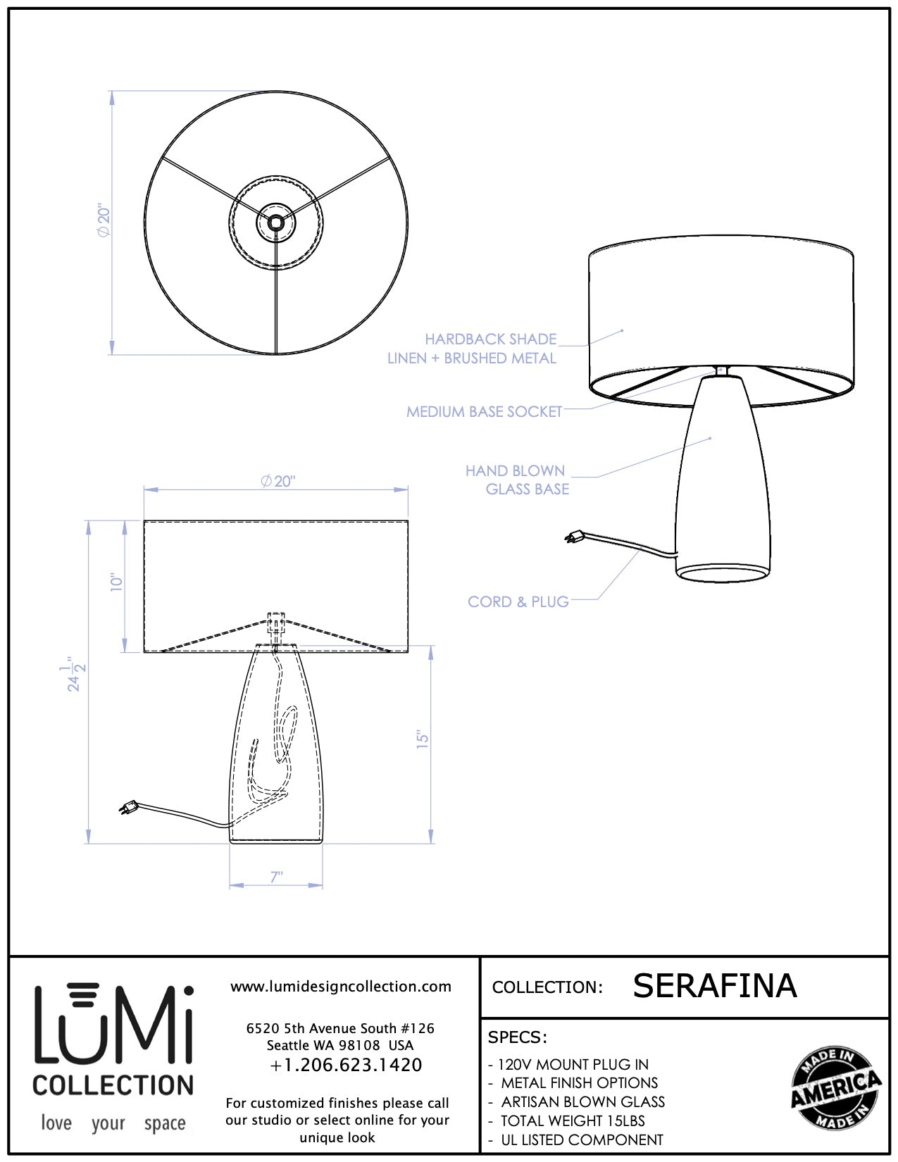 seattle made glass lighting spec sheet for serafina lamp