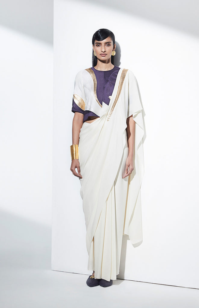 Navya Ivory Saree in Georgette
