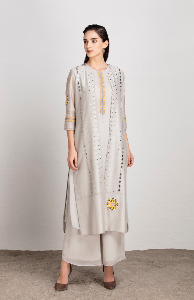 Anika Light Grey Jacket Set in Chanderi