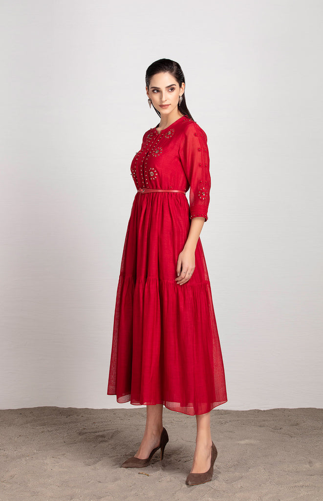 Zahara Red Dress in Chanderi with Belt