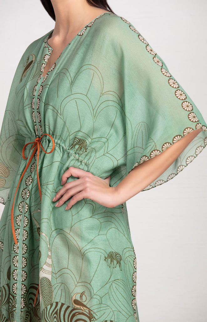 Ihlathi Sage Green Kaftan in Chanderi