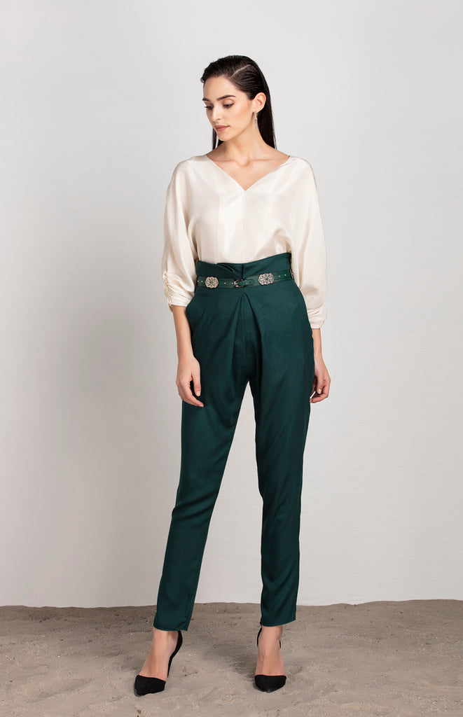 Forest Green Pants in Georgette with Belt