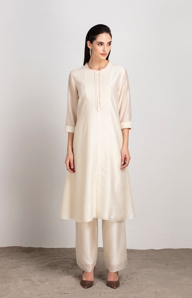 Irozi Ivory Tunic in Chanderi