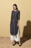 Nyarai Black Tunic in Chanderi
